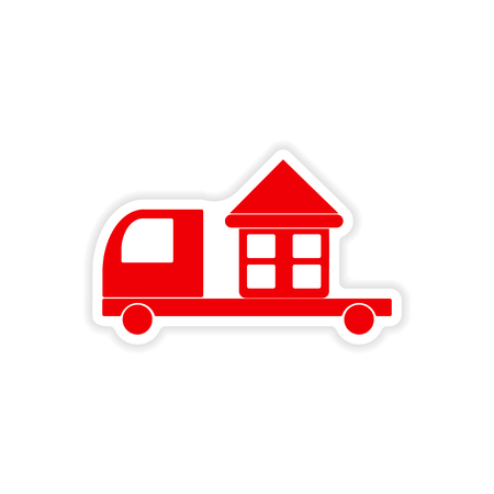 free shipping: icon sticker realistic design on paper truck home delivery Illustration