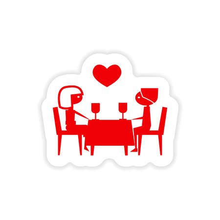 romantic date: icon sticker realistic design on paper romantic date