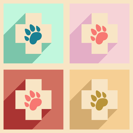 caduceus veterinary symbol: Flat with shadow concept and mobile application Veterinary