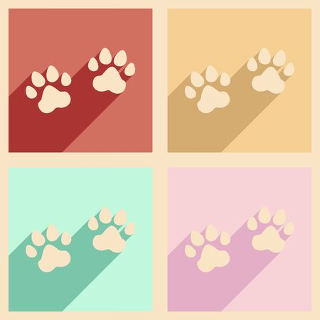 animals shadow: Flat with shadow concept and mobile application traces of animals