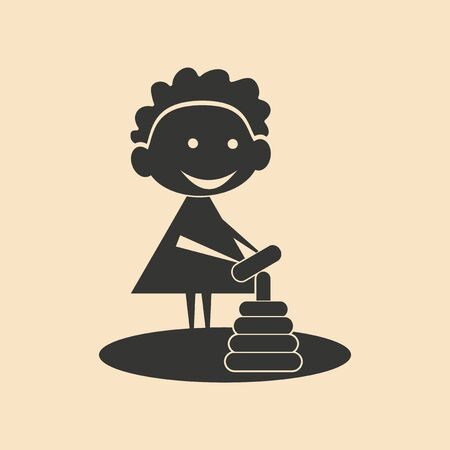 kind spielen: Wohnung in Schwarz-Wei�-mobile Anwendung zum Kinderspiel Illustration