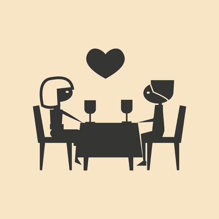 a meeting with a view to marriage: Flat in black and white mobile application romantic dinner