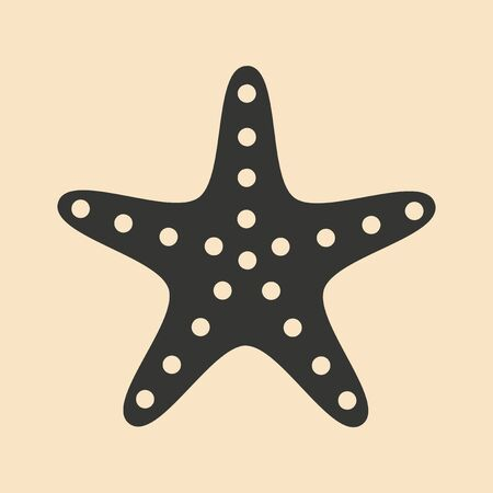 underwater fishes: Flat in black and white mobile application sea star Illustration