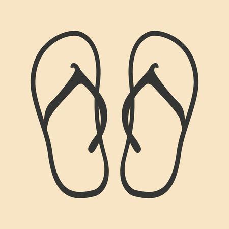 flops: Flat in black and white mobile application flip flops Illustration