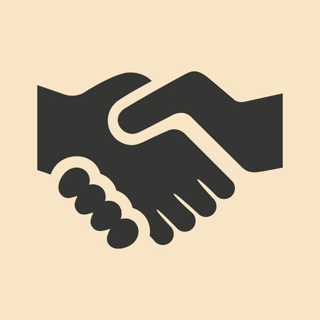 Flat in black and white mobile application handshake Vectores