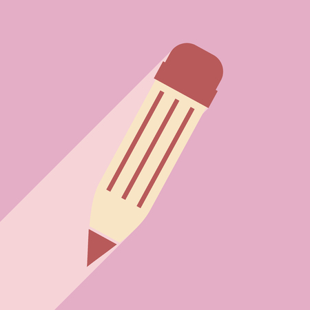 colored pencil: Flat with shadow icon and mobile application colored pencil Illustration