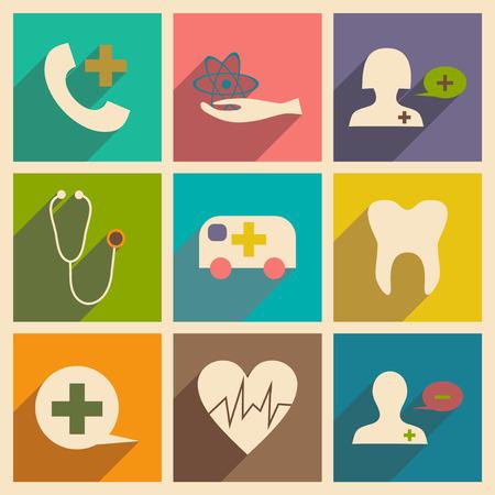 egészségügyi ellátás: Flat with shadow concept and mobile application health care