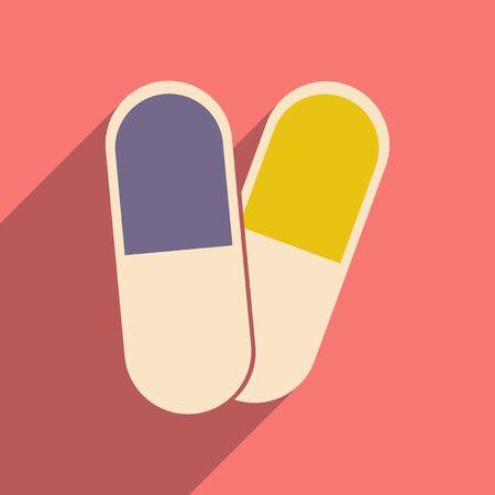 pharmaceutics: Flat with shadow icon and mobile application pharmaceutics Illustration
