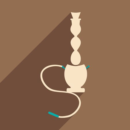 narghil�: Flat with shadow icon and mobile application hookah shisha