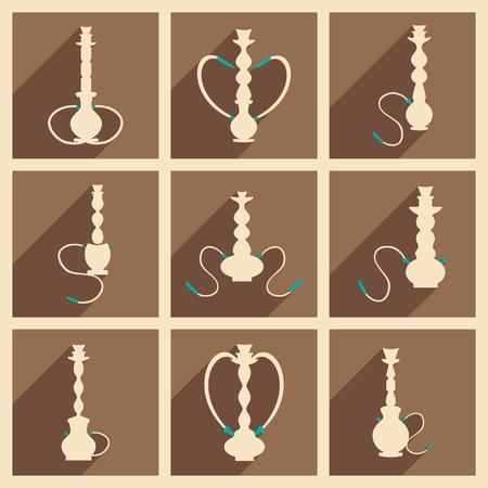 shisha: Flat with shadow concept and mobile application hookah shisha
