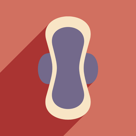 menses: Flat with shadow icon and mobile application feminine pads