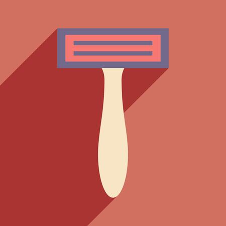rasoio: Piatto con l'icona ombra e mobile rasoio applicazione
