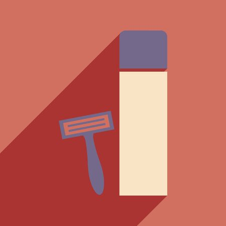 personal grooming: Flat with shadow icon and mobile application shaving kit