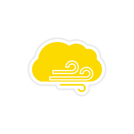 stormcloud: icon sticker realistic design on paper cloud wind