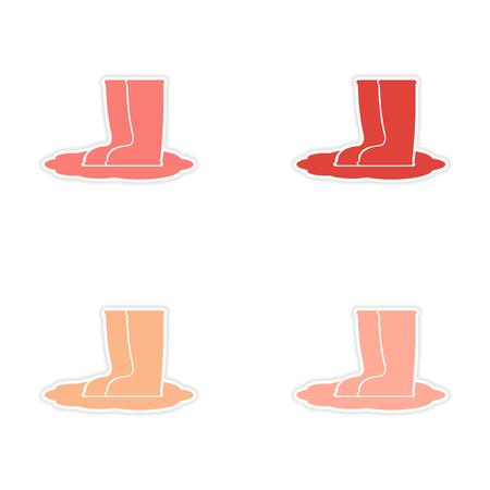 rubberboots: Montage realistische Aufkleberentwurf auf Papier Gummistiefel Illustration