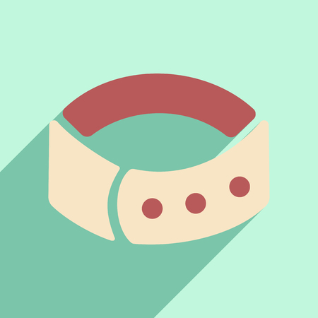 spiked: Flat with shadow icon and mobile application dog collar