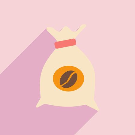 koffiebaal: Flat met schaduw pictogram en mobiele applicatie koffie zak Stock Illustratie