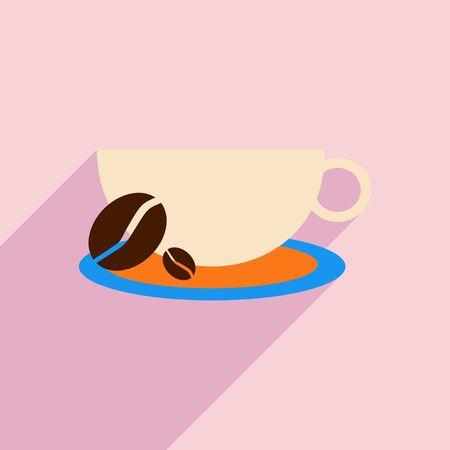 demitasse: Flat with shadow icon and mobile application demitasse