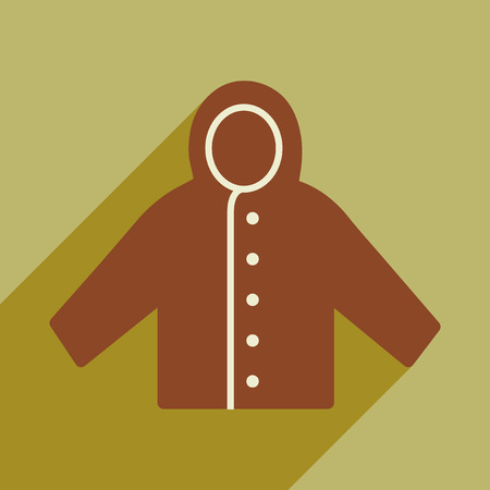 spring coat: Flat with shadow icon and mobile application raincoat