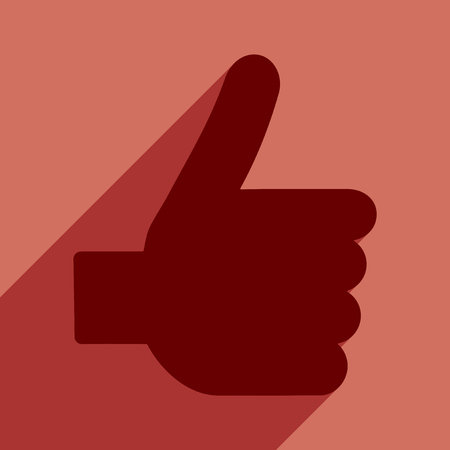 10 fingers: Flat with shadow icon and mobile application good hand