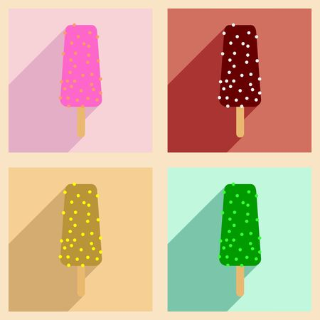 glaze: Flat with shadow concept and mobile application ice cream in glaze