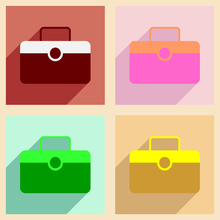 valise: Flat with shadow concept and mobile application valise