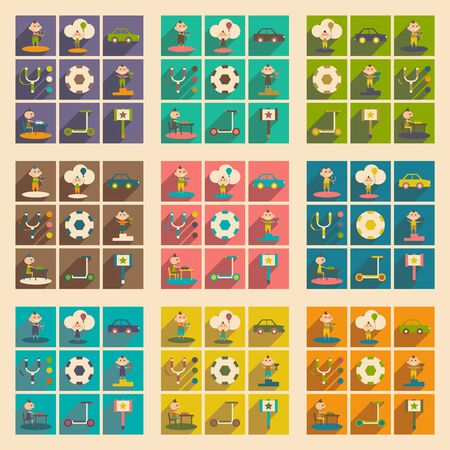 childs: Flat with shadow concept and mobile application childs play