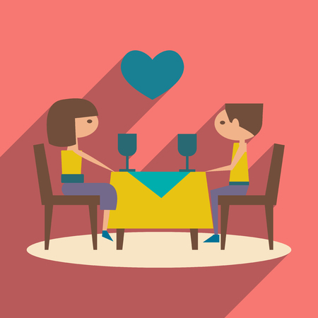 romantic dinner: Flat with shadow icon and mobile application romantic dinner