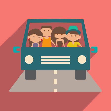 Flat met schaduw icoon en vriendelijke reizen mobiele applicatie Stock Illustratie