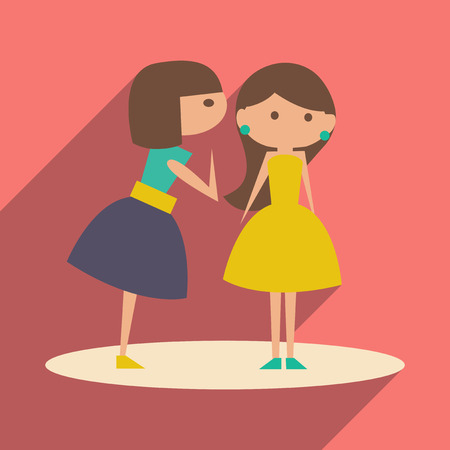 Flat with shadow icon and mobile application female conversation Vector Illustration