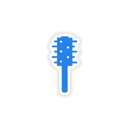 toilet brush: assembly realistic sticker design on paper toilet brush