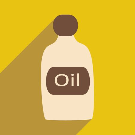 oil bottle: Flat with shadow icon and mobile application oil bottle Illustration