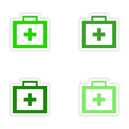 medicine chest: assembly realistic sticker design on paper medicine chest Illustration