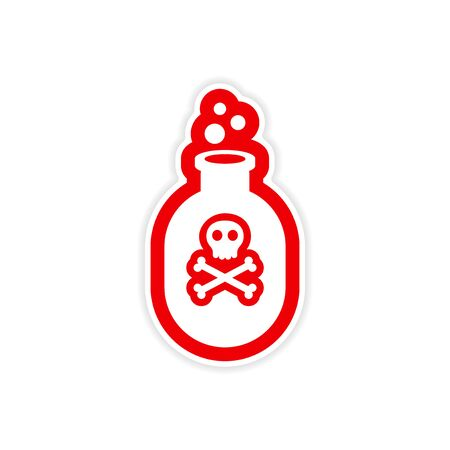 veneno frasco: diseño realista icono de etiqueta en la botella del veneno de papel