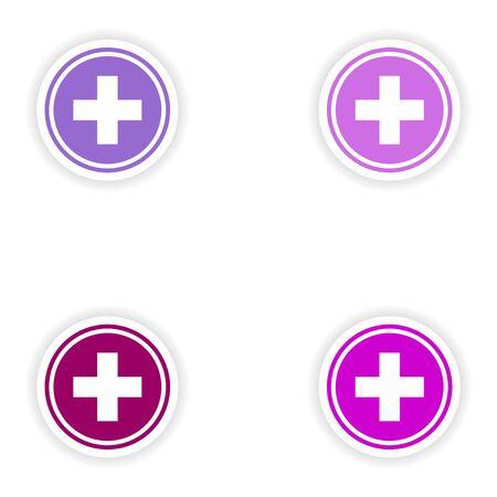 medicine logo: assembly realistic sticker design on paper medicine logo