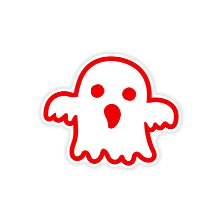 cute ghost: icon sticker realistic design on paper ghost