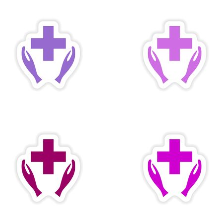 logo medicina: dise�o de etiqueta montaje realista en el logo papel medicina