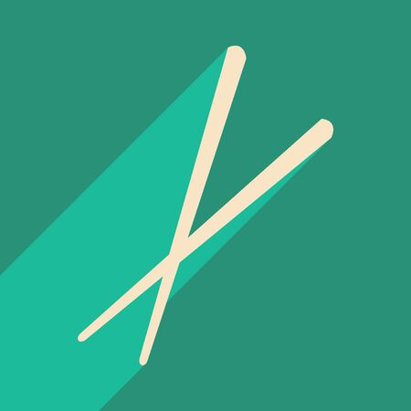 chop sticks: Flat with shadow icon and mobile application Sticks for sushi Illustration