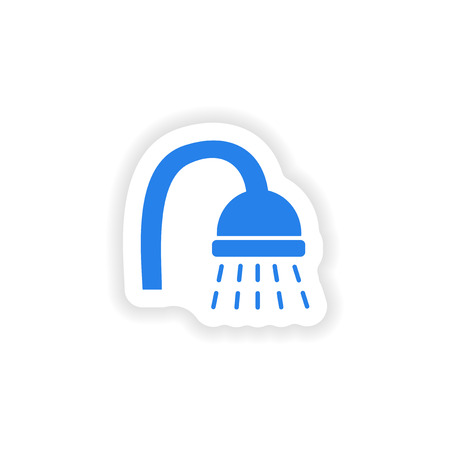 shower: icon sticker realistic design on paper shower