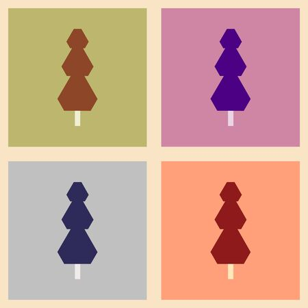coniferous: Flat with shadow concept and mobile application trees coniferous Illustration