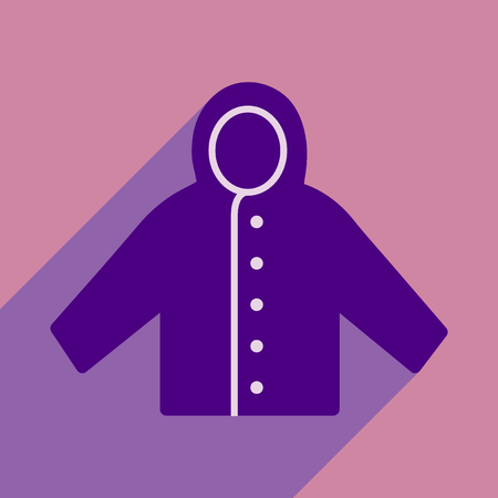 raincoat: Flat with shadow icon and mobile application raincoat