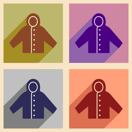 raincoat: Flat with shadow concept and mobile application raincoat Illustration