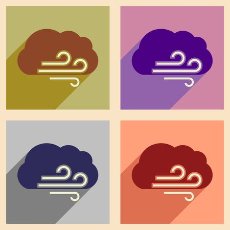 ozone: Flat with shadow concept and mobile application cloud wind Illustration