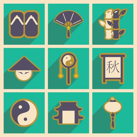 japanese characters: Japanese characters Pin In means Autumn, China symbol Illustration