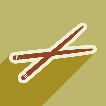 Flat with shadow icon chopsticks stylish background