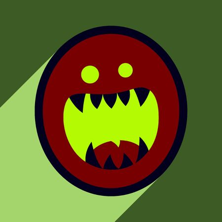 toothy: Flat with shadow Icon toothy monster bright background Vectores