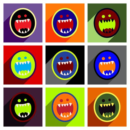toothy: Flat with shadow concept Icon toothy monster bright background