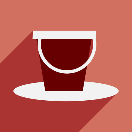 pail: Flat with shadow icon and mobile application pail