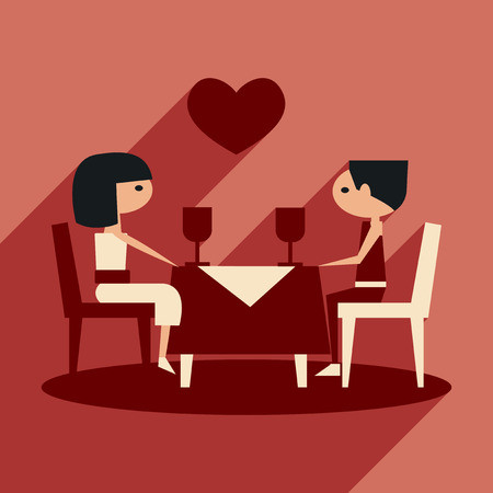 romantic couple: Flat with shadow icon and mobile application romantic dinner