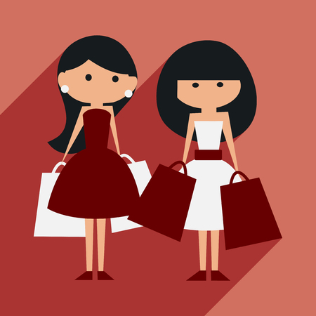 shoppers: Flat with shadow icon and mobile application shopping